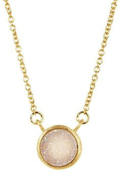 18K Gold Clad White Druzy Station Necklace