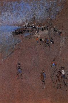 The Zattere, harmony in blue and brown by Whistler.  Order from DEKORAMI as a poster, canvas print, mural. Zamów jako obraz na płótnie, plakat lub fototapetę na DEKORAMI.pl