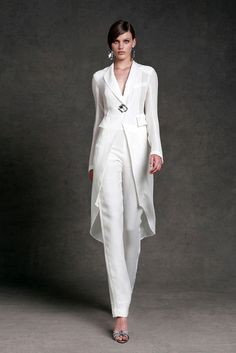 Donna Karan Resort~ White fashion couture woman's fashions pant outfit pants white white fashions on white Wedding Pantsuit, Wedding Suits, Wedding Trouser Suits, Dress Wedding, Yacht Wedding, Wedding Tuxedos, Tuxedo Wedding, Modest Wedding, Elegant Wedding