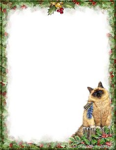 . Borders And Frames, Stationery Paper, Christmas Animals, Note Paper, Siamese Cats, Paper Decorations, Cute Cats, Dog Cat, Writing Papers