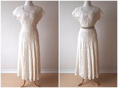 vintage 40s full LACE wedding gown by violetcrownvintage on Etsy