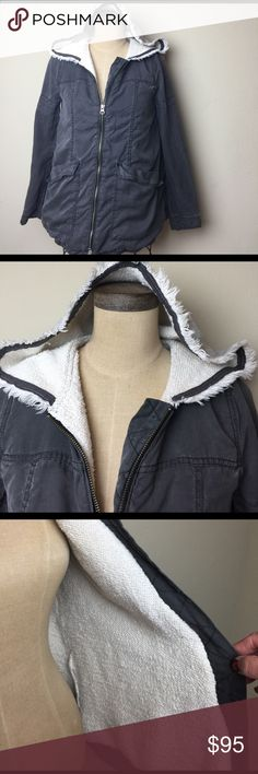 Free People French Terry lined hooded jacket Fabulous loose fit front zip hooded jacket!  Hood and lining are French Terry. Jacket is tencel. Machine wash/dry Free People Jackets & Coats