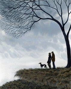 GREYHOUND WHIPPET LURCHER 6699 Dianne Heap ART RAIN TREES COUPLE COUNTRYSIDE DOG