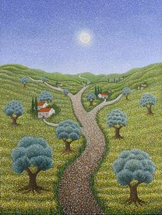 A pathway home Benedictine Monks, Watercolor Art Landscape, Ca Usa, Watercolor Tutorials, Pointillism, California Usa, Pathways, Golf Courses, Painting