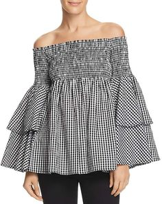 """AQUA Gingham Bell Sleeve Off-the-Shoulder Top - 100% Exclusive #top #womens #fashion #womensfashion 