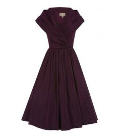 Amber - Vintage Style 1950's Swing Dress in purple - Lindy Bop