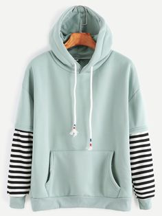 Shop Sleeve Striped Drawstring Hooded Sweatshirt With Pocket online. SheIn offers Sleeve Striped Drawstring Hooded Sweatshirt With Pocket & more to fit your fashionable needs. Green Long Sleeve Shirt, Long Sleeve Tops, Long Sleeve Shirts, Green Shirt, Hoodie Sweatshirts, Sweat Shirt, Sport Mode, Jugend Mode Outfits, Vetement Fashion