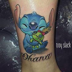 Ohana - Stitch and Scump Tattoo. Bff Tattoos, Mini Tattoos, Cartoon Tattoos, Best Sleeve Tattoos, Dream Tattoos, Best Friend Tattoos, Future Tattoos, Body Art Tattoos, Tatoos