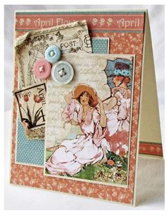 """Try this Place in Time """"April Showers"""" card with a printable project sheet #graphic45 #projectsheets #tutorials"""