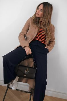 J.W. Anderson Bag, Maje Camel coat, Striped shirt, Pants with wide legs – H&M. Adidas Stan Smith Sneakers - teetharejade.com