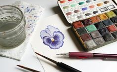 Watercolor Flower | Greenleaf & Blueberry via The Postman's Knock