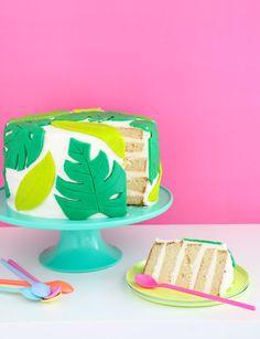 DIY Tropical Palm Leaf Cake