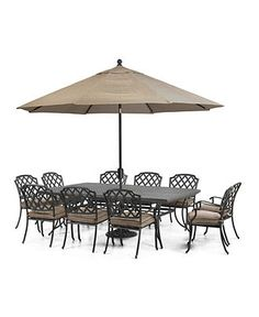 Grove Hill Outdoor Patio Furniture, 11 Piece Set (90 X 60 Dining Table And