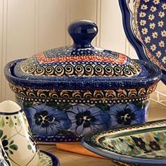 Hand-Painted Polish Pottery Covered Butter Box/Mini Loaf Pan