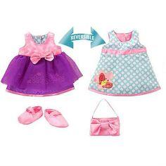 "Baby Alive - Costume réversible - Let's Celebrate - Grande - Funrise - Toys""R""Us Baby Alive Doll Clothes, Baby Alive Dolls, Barbie Doll Set, Girl Dolls, Baby Barbie, Toys R Us, Ropa American Girl, Baby Doll Accessories, Reversible Dress"