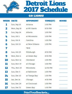 2017 Detroit Lions Football Schedule https://www.fanprint.com/licenses/detroit-lions?ref=5750