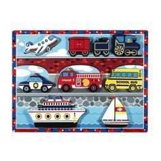 For a simple puzzle that kids will love check out the Vehicles Chunky Puzzle available on Melissa & Doug. Children who love cars will dig this puzzle! Bus Crafts, B 13, Melissa & Doug, Wooden Puzzles, Puzzle Pieces, Puzzle Board, Pretend Play, Fine Motor Skills, Colorful Pictures