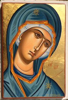 Handmade byzantine icon of THEOTOKOS ON HANDMADE CRACFTWOOD. The icon image is Original Silkscreen (Serigraphy) NOT printed, on wood with a varnish layer ensuring waterproofing. The icon is prepared with great love and absolute respect. Byzantine Icons, Byzantine Art, Religious Images, Religious Art, Greek Icons, Archangel Michael, Madonna And Child, Catholic Art, Art Icon