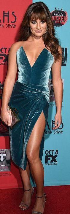 Lea Michele, blue velvet strapless dress