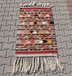 VINTAGE Turkish Kilim Rug: Small Sized Dowry Kilim by KilimRugMall