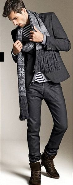 Shades of Gray; Jacket, Skinny Jeans, and Scarf. Men's Fall Winter Fashion.