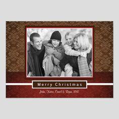 Brown and Red Damask Christmas Card