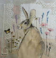 Emily Henson, textile artist who works both by hand embroidery and by machine for her designs