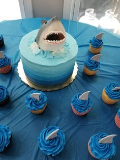 Shark Birthday Cakes, 6th Birthday Parties, 7th Birthday, Shark Birthday Ideas, 5th Birthday Cakes For Boys, Women Birthday, Themed Birthday Cakes, Circus Birthday, Birthday Nails