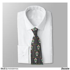 Skull Neck Tie #Skull #Bone #Holiday #Halloween #Flower #Rose #Fashion #Suit #Tie #Necktie