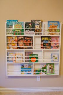 Something like this might be a good way to cover the walls in Anton's Bunk area in the RV. book shelf idea
