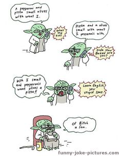 Funny Star Wars Yoda Pizza Night Joke Cartoon