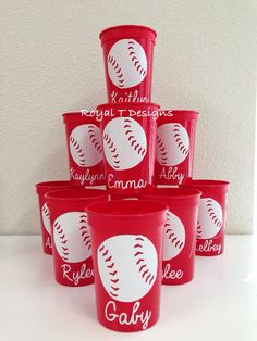 Personalized Baseball Party Favor Cups 5 by RoyalTDesigns on Etsy Baseball Party Favors, Softball Party, Baseball Birthday Party, 9th Birthday Parties, Sports Birthday, Sports Party, 3rd Birthday, Birthday Ideas, Bentley Gtc