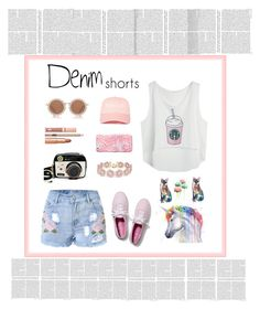"""denim short"" by littlelook on Polyvore featuring Betsey Johnson, House of Holland, Dolce Vita, BaubleBar, Vera Bradley, Keds, jeanshorts, denimshorts and cutoffs"
