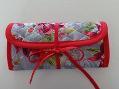 Crochet Hook Case Grey Red Pink White Flower Quilted Bag by RoxannasBags on Etsy