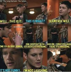 Dean talking about Team Free Will for the first time 5x13 The Song Remains the Same #Dean #Sam #Cas