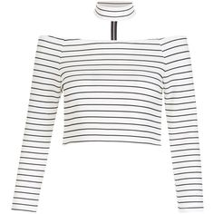 New Look Parisian Cream Stripe Choker Bardot Neck Top (31 AUD) ❤ liked on Polyvore featuring tops, cream, going out tops, stripe crop top, 3/4 sleeve tops, crop top and zipper crop top