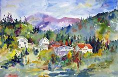 """Ketchikan, Alaska, Watercolor,22x15"""" by Bob Voges"""