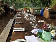 Pretty but rustic table - creates an engaging but informal, relaxed atmosphere
