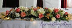 Esküvői dekoráció, esküvői főasztaldísz, barack esküvői dekoráció