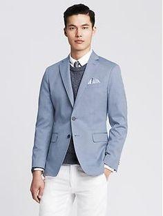 Tailored Blue Oxford Cotton Blazer