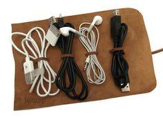 Leather cord wrap/organizer - simple but elegant