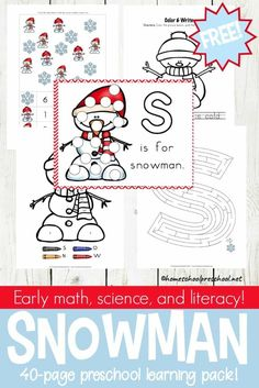 Winter is here, and it's the perfect time to add preschool snowman activities and printables to your homeschool preschool lessons! Winter Activities For Kids, Preschool Learning Activities, Kindergarten Science, Free Preschool, Preschool Printables, Preschool Lessons, Toddler Preschool, Snowman Printables, Preschool Winter