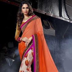 Orange and Off White Faux Georgette Saree with Blouse