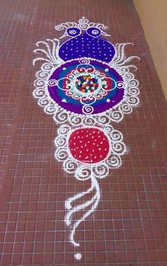 Peacock Rangoli Designs for Diwali