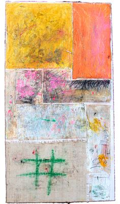 Alfredo Scaroina Untitled 2014 Oil, Acrylic, Dirt, Reclaimed Fabric, Oil Stick, Graphite, Burlap on canvas 56 x 30 inches
