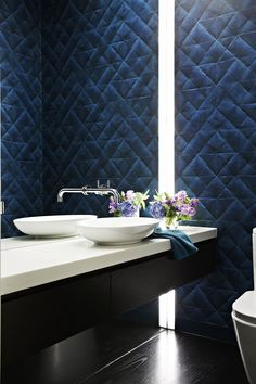 """""""The Misen Plis wallpaper packs a good decorative punch in this small space,"""" says Kylie. Villerory & Boch **basin**, [Argent Australia](http://www.argentaust.com.au/?utm_campaign=supplier/