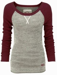 Thermal Baseball Style Sweater This looks super comfy!