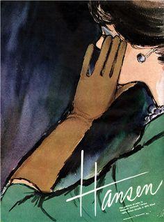Hansen Long Brown Gloves Magazine Ad.