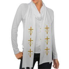 Golden 3-D Cross with Wedding Rings #Scarf #Wraps....#crosses #Christian #Catholic #WeddingRings #forsale #Zazzle #Artists4God #religious #religion #golden #RoseSantuciSofranko