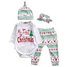 2016 Bébé De Noël Filles Garçons Vêtements À Manches Longues Barboteuse Top + Pantalon + Chapeau De Noël bandeau 4 PCS Toddler Enfants vêtements Ensemble